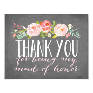 Maid of Honor Thank You | Bridesmaid 11 Cm X 14 Cm Invitation Card
