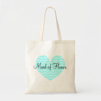 Maid of Honor turquoise heart chevron tote bag Budget Tote Bag