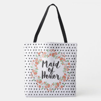 Maid of Honor Typography Coral Pink Rose Wreath Tote Bag