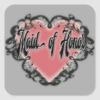 maid of honor vintage heart tattoo square sticker