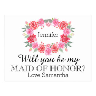 Maid of Honor watercolor floral wreath Postcard