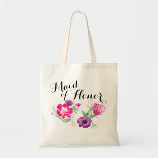 Maid of Honor Watercolor Flowers Tote