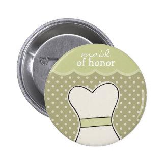 Maid of honor -- Wedding dress // GREEN 6 Cm Round Badge