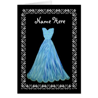 MAID OF HONOR Wedding Thank You BLUE Flowered Gown Card