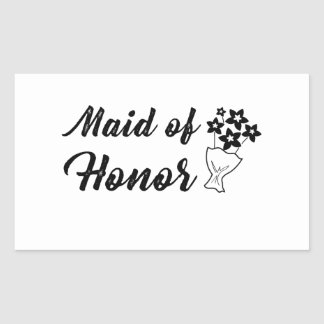 Maid of Honor with Bouquet Wedding Gift Rectangular Sticker
