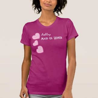 MAID OF HONOR with Pink Zebra Hearts V10N T Shirt
