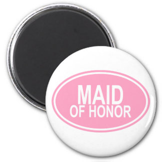 Maid of HonorWedding Oval Pink 6 Cm Round Magnet