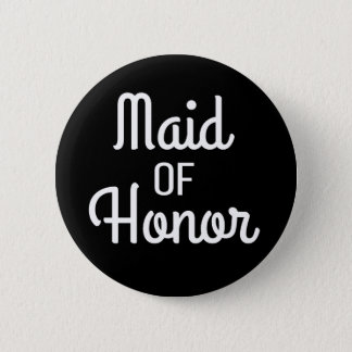 Maid Of Honour Brush Wedding Bridal Party Button