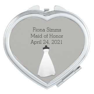 Maid of Honour or Bridesmaid's Heart Compact Vanity Mirrors