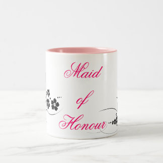 Maid of Honour pink and black Coffee Mugs