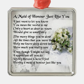 maid of honour poem - Wedding Bouquet design Metal Ornament