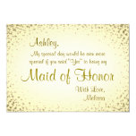 Maid of Honour | Vintage Gold 13 Cm X 18 Cm Invitation Card