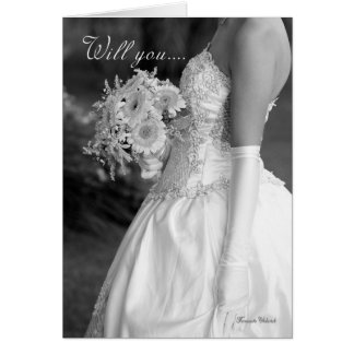 Maid of Honour, will you be my bridesmaid black an Greeting Card