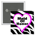 Maid Of Honour Zebra Stripes Buttons