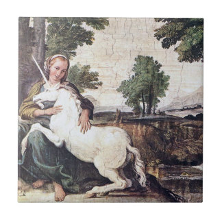 Maiden and Unicorn Tile by Domenichino circa 1602