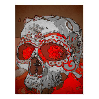 Maiden Hell Sugar Skull Day of the Dead Postcard