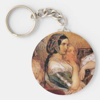 maiden in bonnet key ring
