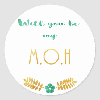 Maidofhonor green gold classic round sticker