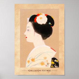 Maiko japanese girl in kimono lady woman geisha poster