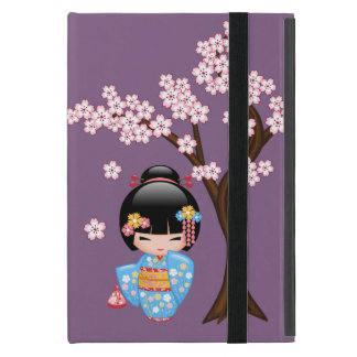 Maiko Kokeshi Doll - Blue Kimono Geisha Girl Cover For iPad Mini