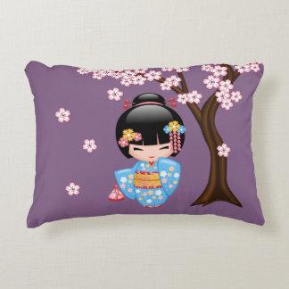 Maiko Kokeshi Doll - Blue Kimono Geisha Girl Decorative Cushion