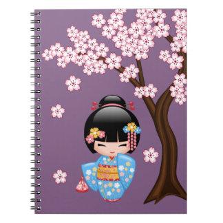 Maiko Kokeshi Doll - Blue Kimono Geisha Girl Notebooks