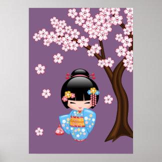 Maiko Kokeshi Doll - Blue Kimono Geisha Girl Poster