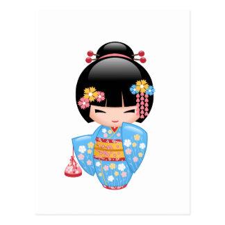 Maiko Kokeshi Doll - Cute Geisha Girl Postcard