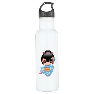 Maiko Kokeshi Doll - Cute Japanese Geisha Girl 710 Ml Water Bottle