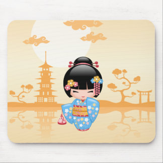 Maiko Kokeshi Doll - Cute Japanese Geisha Girl Mouse Pad