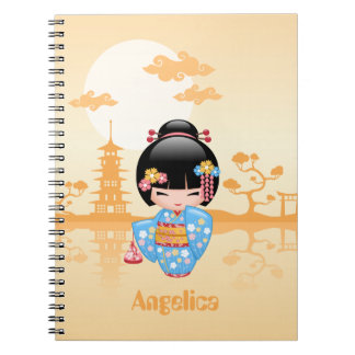 Maiko Kokeshi Doll - Cute Japanese Geisha Girl Notebooks