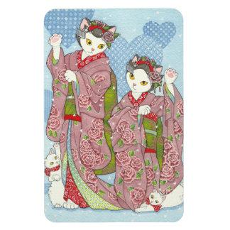 Maiko Maneki Neko Good Luck Kimono Cats Magnet