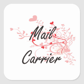 Mail Carrier Artistic Job Design with Hearts Square Sticker