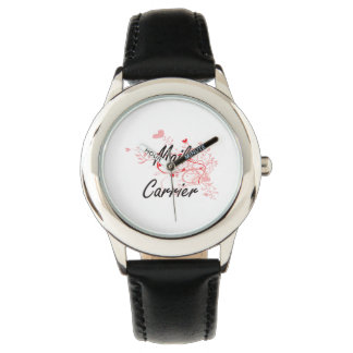 Mail Carrier Artistic Job Design with Hearts Wristwatch