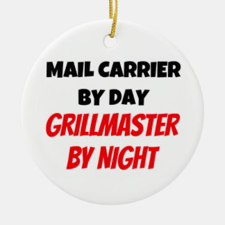 Mail Carrier by Day Grillmaster by Night Round Ceramic Decoration