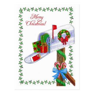 Mail Carrier Christmas Postcard