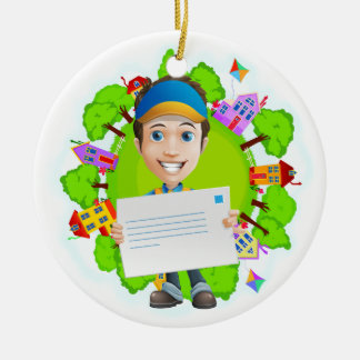 Mail Carrier / Delivery Person - SRF Round Ceramic Decoration