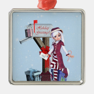 Mail Carrier Elf  Mailbox Gifts Silver Ornament