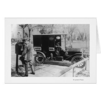"""Mail Carrier with """"United Mail"""" Automobile Greeting Card"""