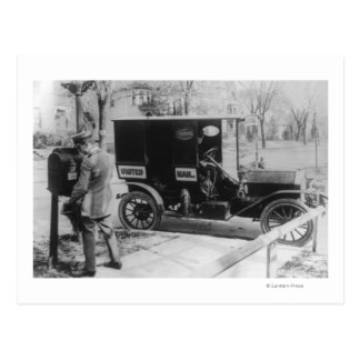 """Mail Carrier with """"United Mail"""" Automobile Postcard"""