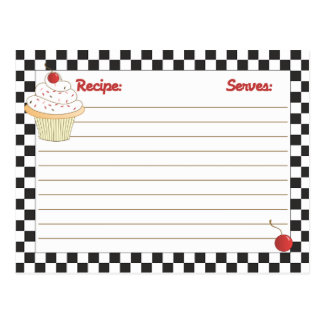 Mailable Cherry Cupcake Recipe Cards