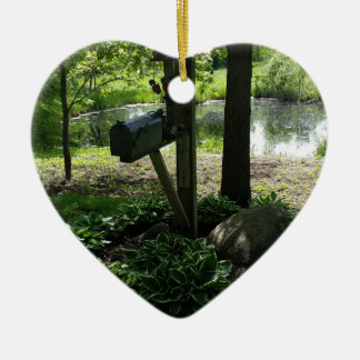 Mailbox by the pond ceramic heart decoration