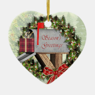 Mailbox,  Wreath and Gift  Mail Carrier Ornament