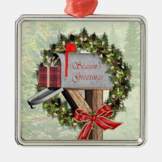 Mailbox  Wreath Gift  Mail Carrier Silver Ornament