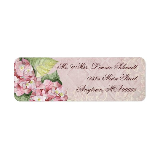 Mailing Labels - Pink Hydrangea Swirl matching