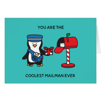 Mailman Mail Lady Postal Worker Christmas Holiday Card