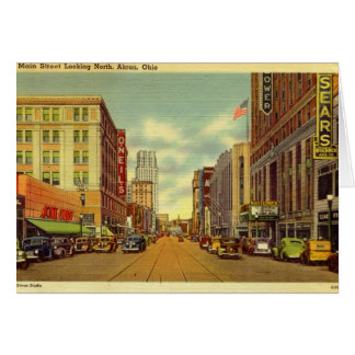 Main St., Akron, Ohio Vintage Card