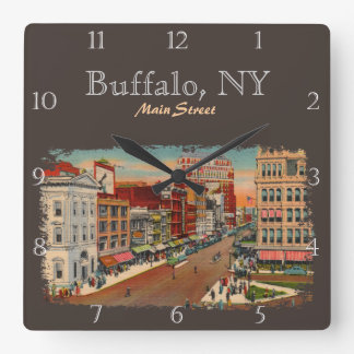 Main Street - Buffalo, NY Custom Square Wall Clock