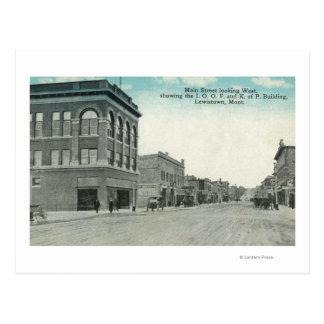 Main Street Looking WestLewiston, MT Postcard