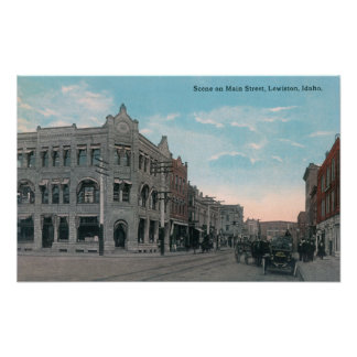 Main Street Scene with Horse Carriages and Poster